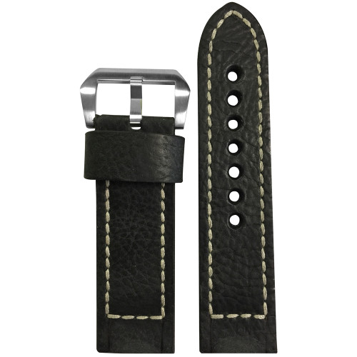 24mm Black Vintage Leather Watch Strap with White Classic Box Stitching for Panerai | Panatime.com