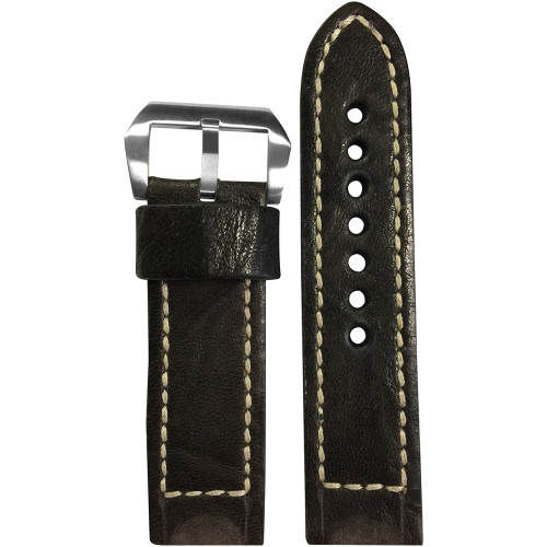 24mm Dark Brown Distressed Vintage Leather Watch Strap with White Classic Box Stitching for Panerai | Panatime.com