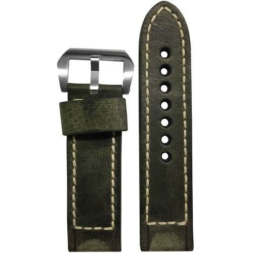 24mm Olive Distressed Vintage Leather Watch Strap with White Classic Box Stitching for Panerai | Panatime.com