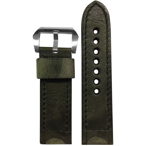 24mm Olive Distressed Vintage Leather Watch Strap with Black Classic Box Stitching for Panerai | Panatime.com