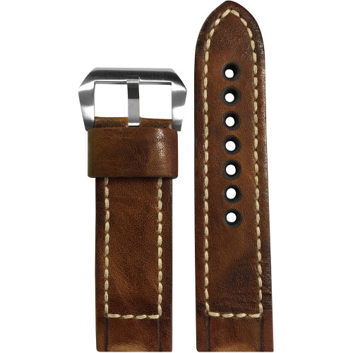 24mm (XL) Chestnut Distressed Vintage Leather Watch Strap with White Classic Box Stitching for Panerai   Panatime.com