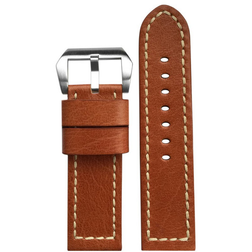24mm (XL) Camel Vintage Leather Watch Strap with White Stitching | Panatime.com