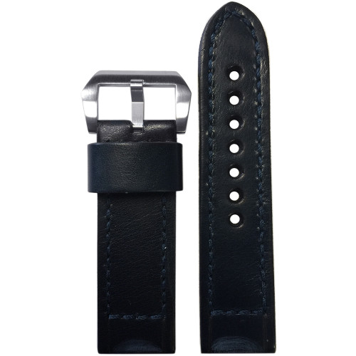 24mm (XL) Dark Navy Vintage Leather Watch Strap with Match Classic Box Stitching for Panerai | Panatime.com