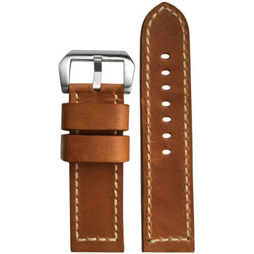 24mm (XL) Natural Distressed Vintage Leather Watch Strap with White Stitching | Panatime.com