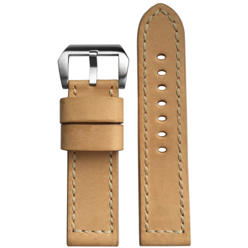 24mm Beige Vintage Leather Watch Strap with Match Stitching | Panatime.com