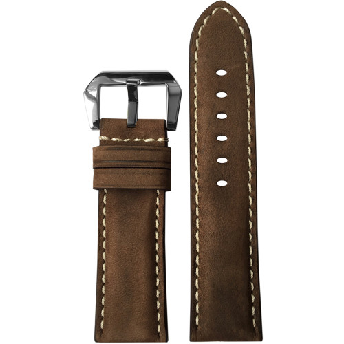 22mm Brown Light Suede Padded Vintage Leather Watch Strap with White Stitching | Panatime.com