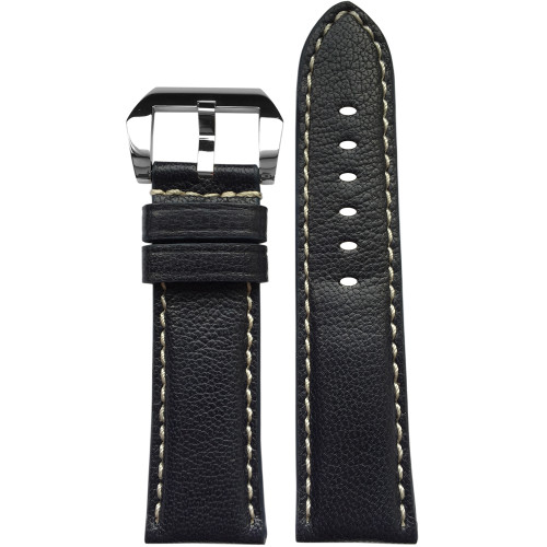 24mm Navy Padded Vintage Leather Watch Strap with White Stitching | Panatime.com