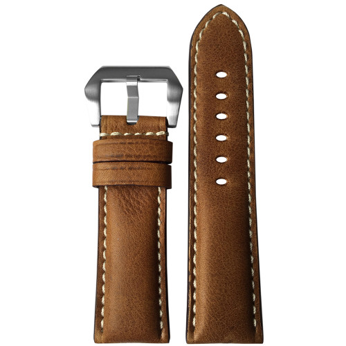 24mm Classic Brown Padded Vintage Leather Watch Strap with White Stitching | Panatime.com