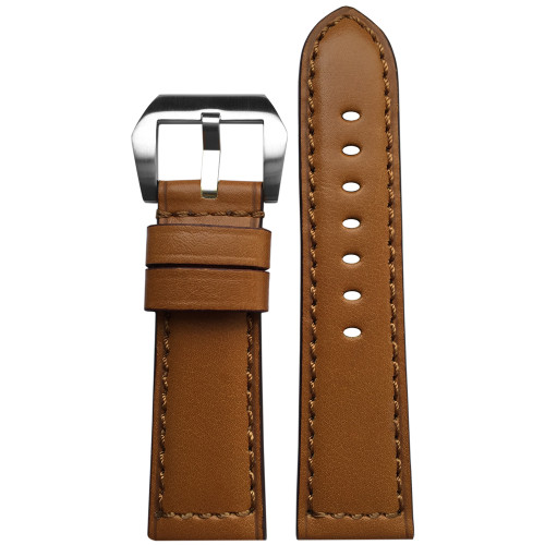 24mm Honey Padded Vintage Leather Watch Strap with Match Stitching | Panatime.com