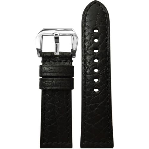24mm Black Buffalo Padded Leather Watch Strap with Match Stitching | Panatime.com