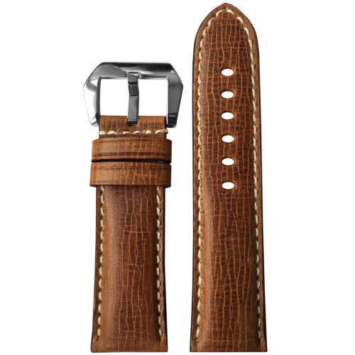 24mm Brown Padded Cracked Vintage Leather Watch Strap with White Stitching | Panatime.com