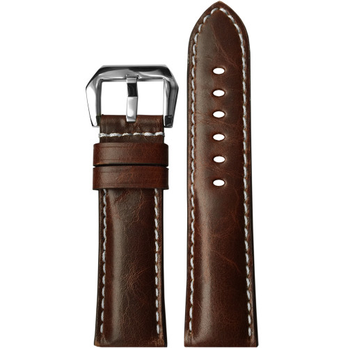 24mm (XL) Burnt Maroon Padded Vintage Leather Watch Strap with White Stitching | Panatime.com
