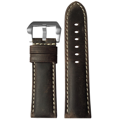 24mm (XL) Stone Padded Vintage Leather Watch Strap with White Stitching | Panatime.com