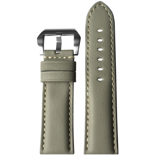 24mm (XL) Light Grey Padded Vintage Leather Watch Strap with White Stitching | Panatime.com