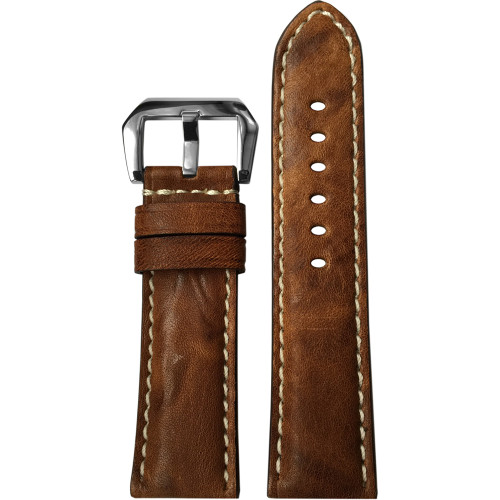 22mm (XL) Burnt Chestnut Padded Vintage Leather Watch Strap with White Stitching | Panatime.com