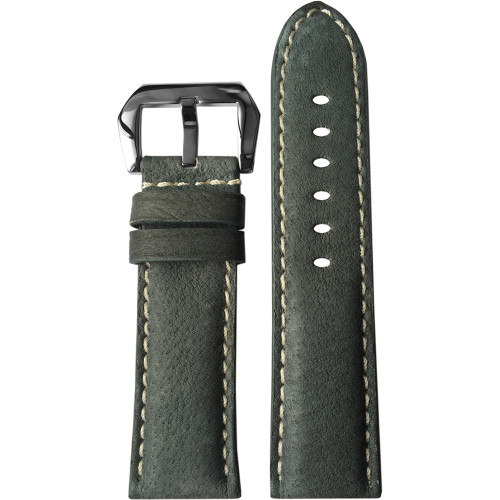 24mm (XL) Boulder Grey Padded Vintage Leather Watch Strap with White Stitching | Panatime.com