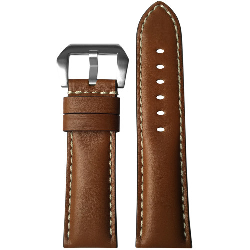 24mm (XL) Medium Brown Padded Leather Watch Strap with White Stitching | Panatime.com