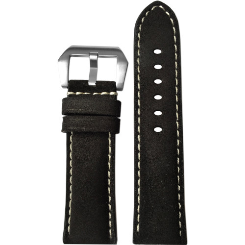22mm (XL) Black Rough Padded Vintage Leather Watch Strap with White Stitching | Panatime.com