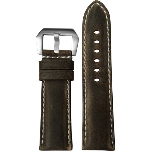24mm (XL) Slate Padded Distressed Vintage Leather Watch Strap with White Stitching | Panatime.com