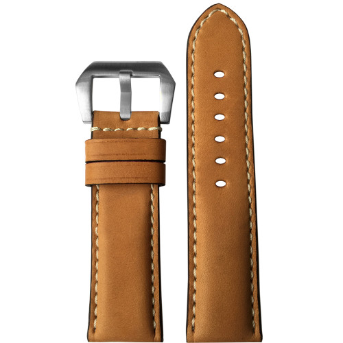 24mm (XL) Natural Padded Vintage Leather Watch Strap with White Stitching | Panatime.com