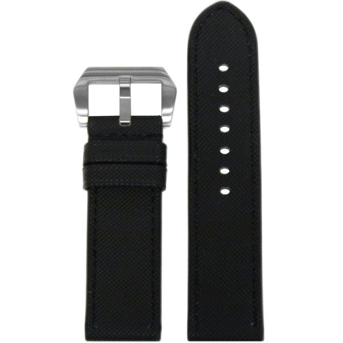 "24mm Black ""KVLR"" Style Waterproof Synthetic Watch Strap with Black Stitching 