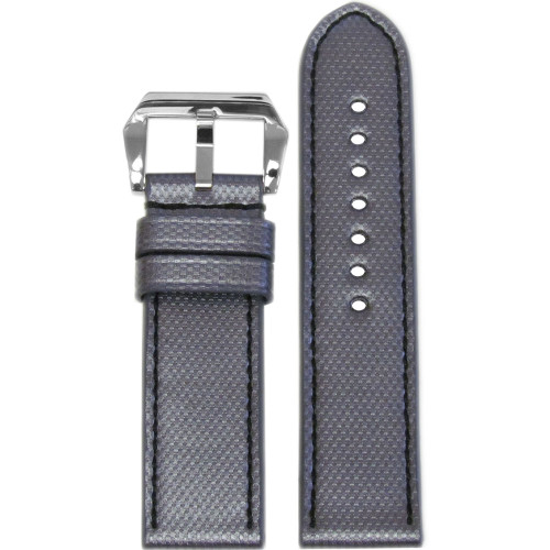 "24mm Carbon Grey ""KVLR"" Style Waterproof Synthetic Style Watch Strap with Black Stitching 