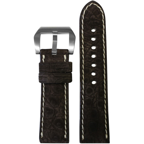 24mm Mocha Padded Nubuk Alligator (Flank) Watch Strap with White Stitching | Panatime.com