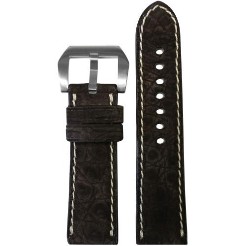 24mm Mocha Padded Nubuk Alligator (Flank) Watch Strap with White Stitching | Panatime.com