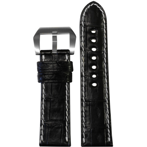 24mm Black Padded Classic Genuine Alligator Watch Strap with White Stitching | Panatime.com