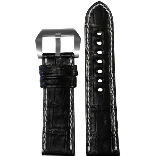 24mm Black Padded Classic Genuine Alligator Watch Strap with White Stitching | Panatime.com