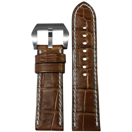24mm Cognac Padded Classic Genuine Matte Alligator Watch Strap with White Stitching | Panatime.com