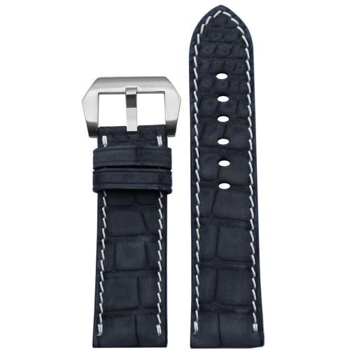 24mm Black Padded Genuine Nubuk Alligator Watch Strap with White Stitching | Panatime.com