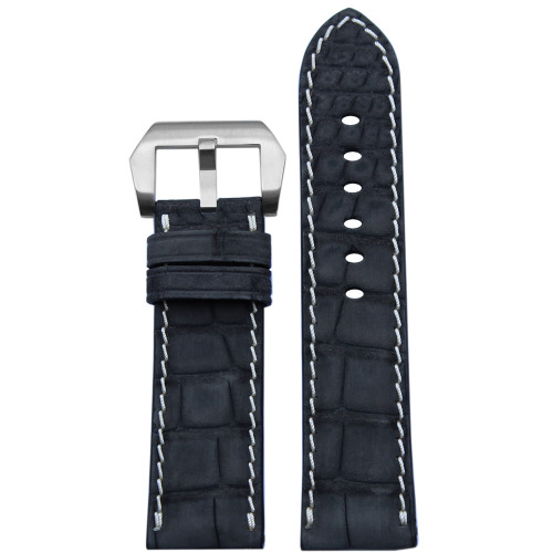 24mm Black Padded Genuine Nubuk Alligator Watch Strap with White Stitching | Panatime.com