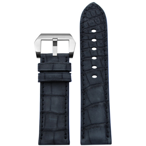 24mm Black Padded Genuine Nubuk Alligator Watch Strap with Match Stitching | Panatime.com