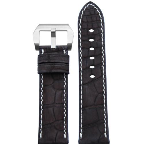 24mm Mocha Padded Genuine Nubuk Alligator Watch Strap with White Stitching | Panatime.com