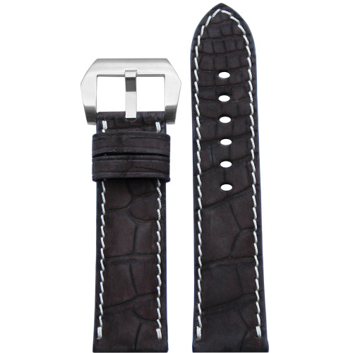 24mm Mocha Padded Genuine Nubuk Alligator Watch Strap with White Stitching | Panatime.com