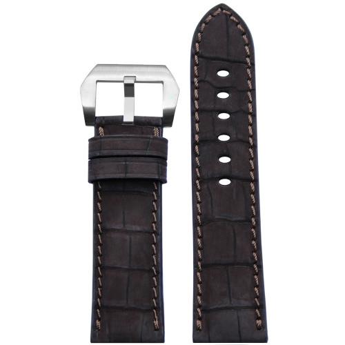24mm Mocha Padded Genuine Nubuk Alligator Watch Strap with Match Stitching | Panatime.com