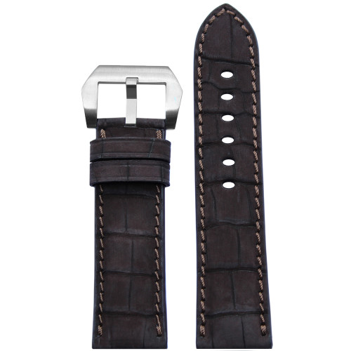 24mm Mocha Padded Genuine Nubuk Alligator Watch Strap with Match Stitching | Panatime.com