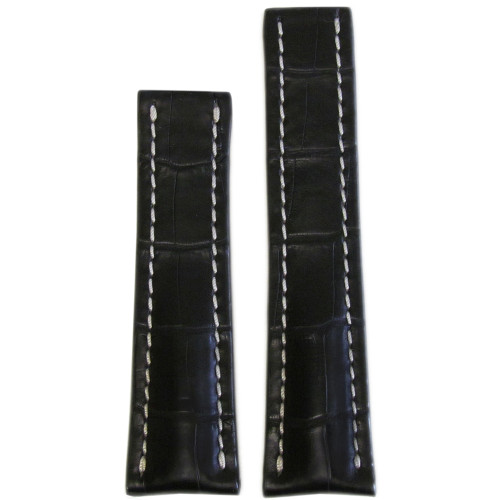 20mm Black Matte Genuine Alligator Watch Strap with White Stitching for Breitling Deploy (20x18) | Panatime.com