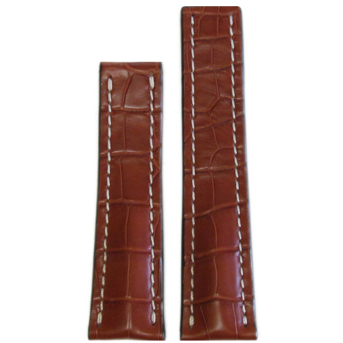 22mm Cognac Matte Genuine Alligator Watch Strap with White Stitching for Breitling Deploy (22x18)