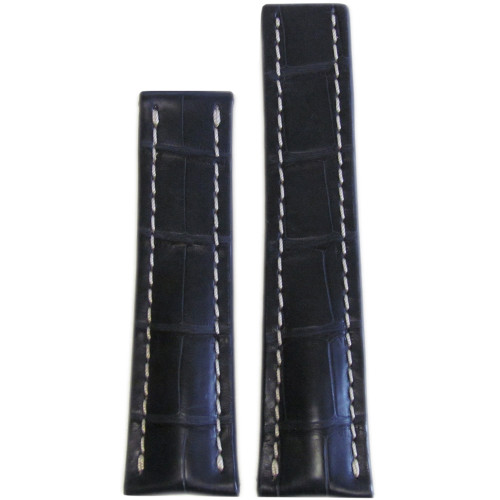 22mm Ocean Blue Genuine Matte Alligator Watch Strap with White Stitching for Breitling Deploy (24x20) | Panatime.com