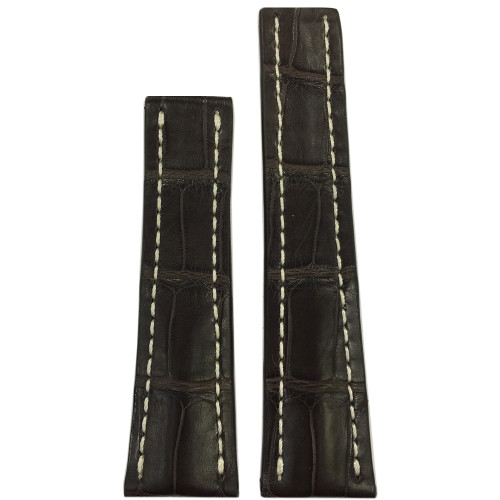 24mm Mocha Matte Genuine Alligator Watch Strap with White Stitching for Breitling Deploy (24x20)   Panatime.com