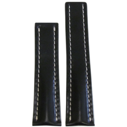 22mm Black Genuine Shell Cordovan Leather Watch Strap with White Stitching for Breitling Deploy (22x18) | Panatime.com