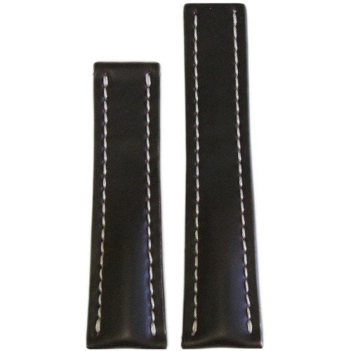 22mm Mocha Genuine Shell Cordovan Leather Watch Strap with White Stitching for Breitling Deploy (22x18) | Panatime.com