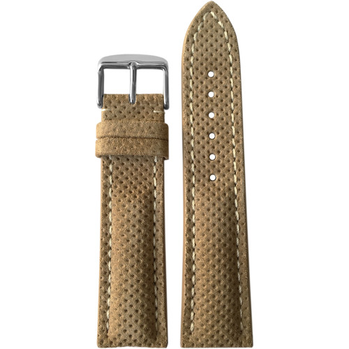 20mm (XL) Khaki Suede Genuine Leather Watch Strap with White Stitching for Breitling (20x18) | Panatime.com