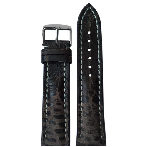 24mm Spotted Distressed Genuine Vintage Leather Watch Strap with White Stitching for Breitling (24x20)   Panatime.com
