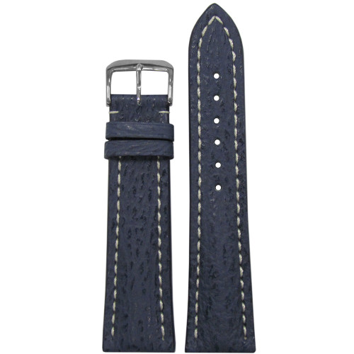 20mm Ocean Blue Genuine Shark Watch Strap with White Stitching for Breitling (20x18) | Panatime.com
