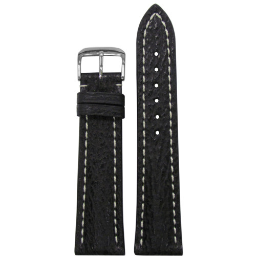 22mm Black Genuine Shark Watch Strap with White Stitching for Breitling (22x18) | Panatime.com