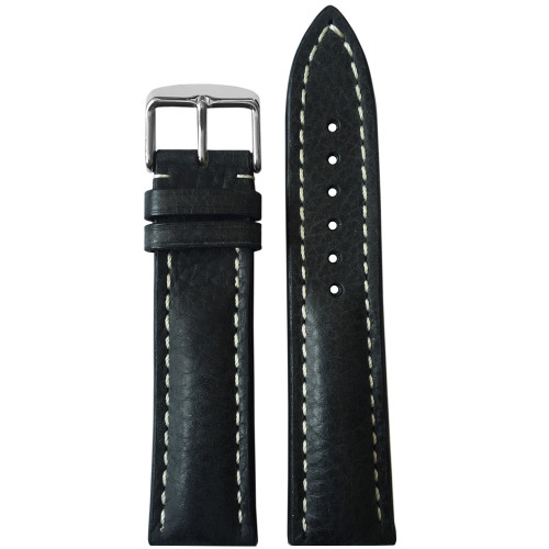 24mm (XL) Charcoal Genuine Vintage Leather Watch Strap with White Stitching for Breitling (24x20) | Panatime.com