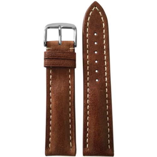24mm (XL) Sienna Brown Genuine Vintage Leather Watch Strap with White Stitching for Breitling (24x20) | Panatime.com
